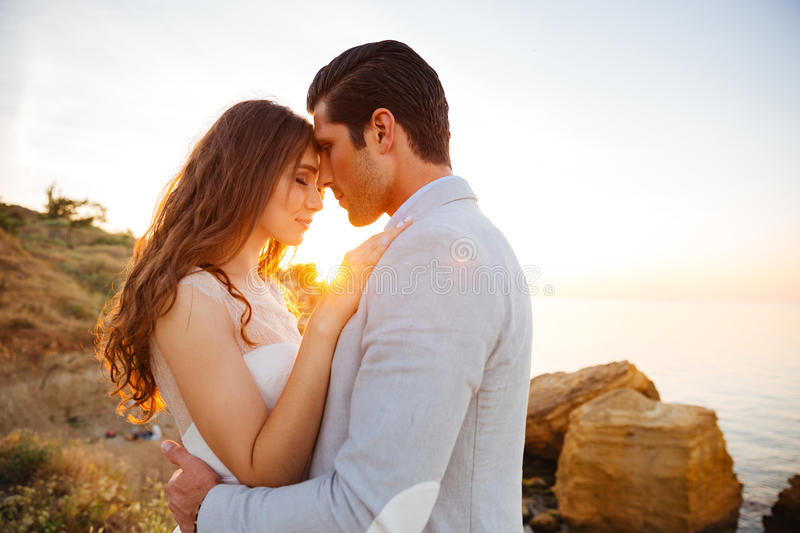 Close up portrait of a beautiful married couple royalty free stock images