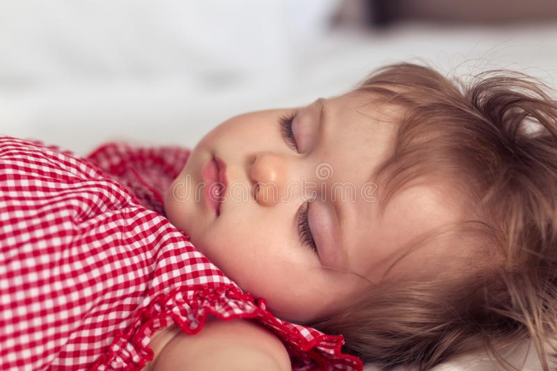 Close up portrait of a beautiful nine month old baby girl sleeping on blurred background. Sleeping child face. Cute royalty free stock image
