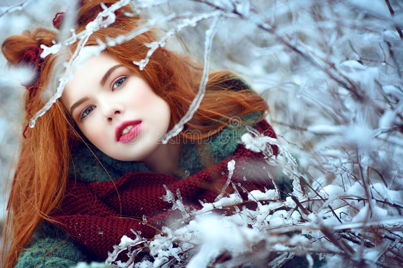 Close up portrait of a beautiful red-haired young woman looking into the camera through icy and snowy branches. stock photo