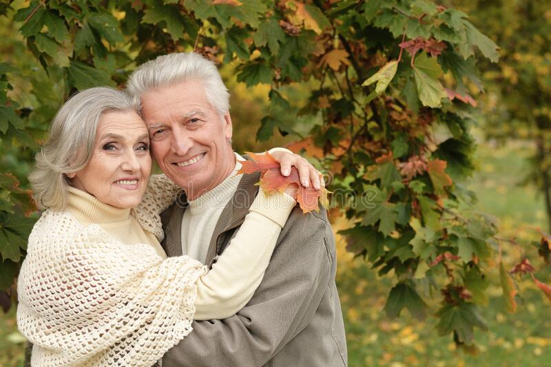 Portrait of beautiful senior couple with leaves in the park royalty free stock photos