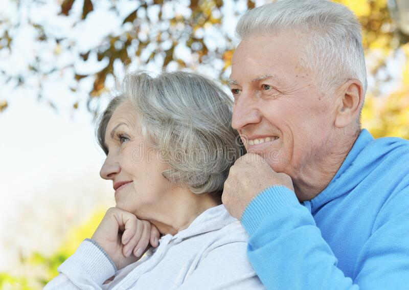Portrait of beautiful senior couple in the park royalty free stock photos
