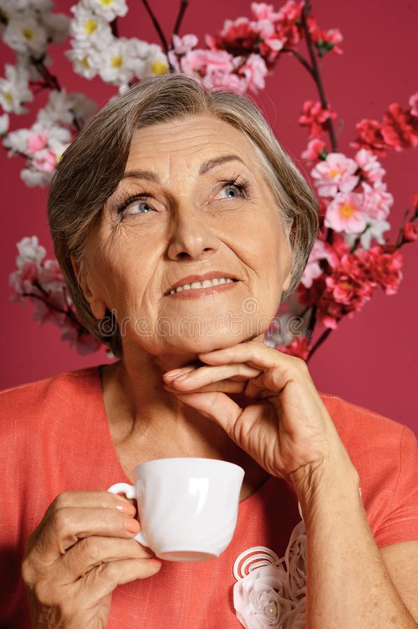 Close up portrait of beautiful senior woman with cup stock images