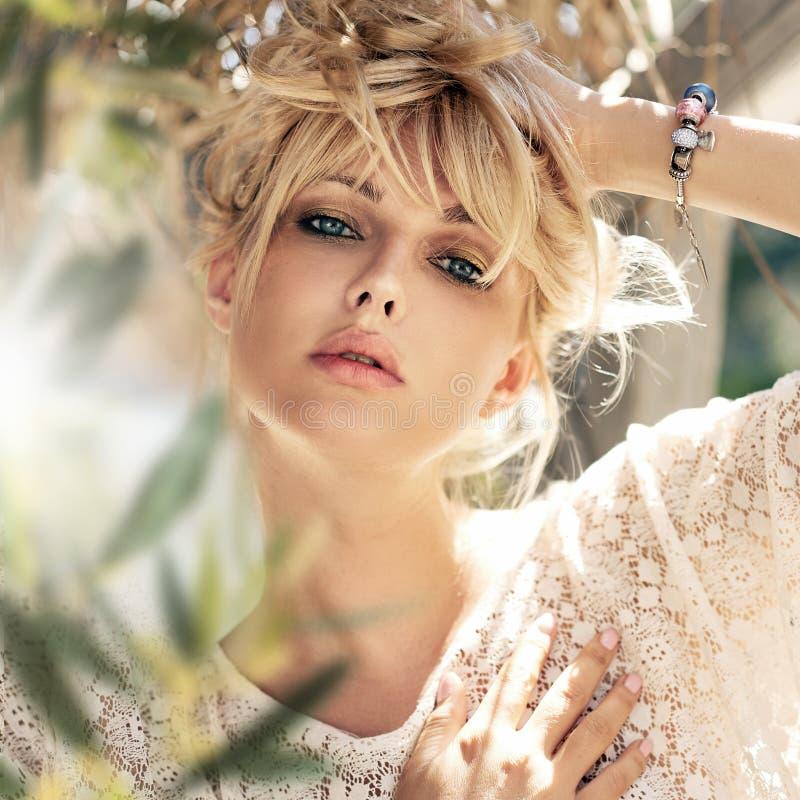 Close-up portrait of a beautiful sensual woman royalty free stock photo