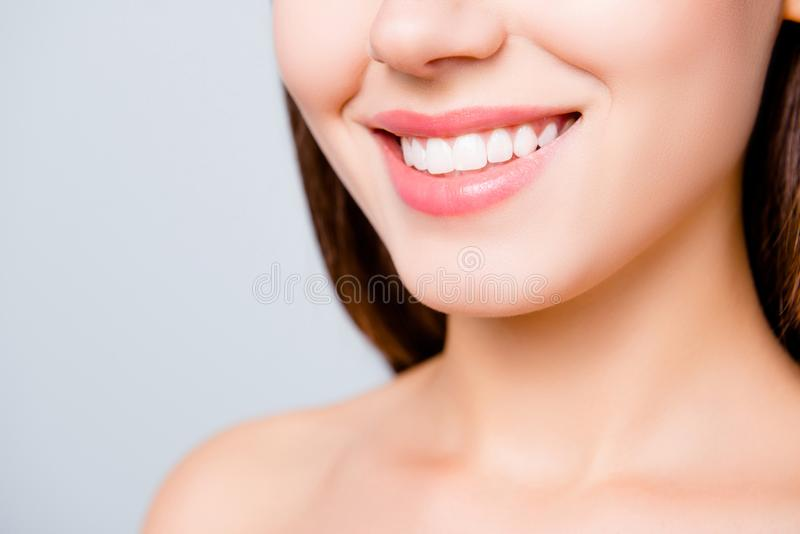 Close up portrait of beautiful wide smile with whitening teeth o royalty free stock photo