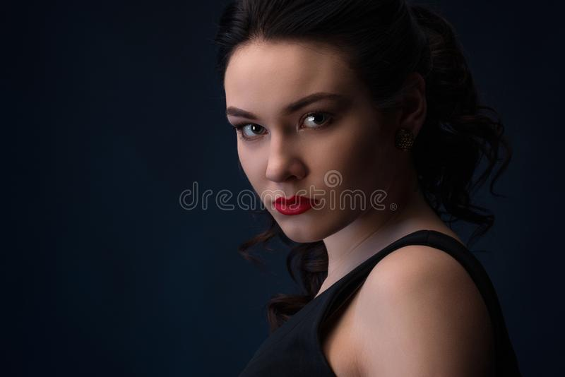 Close up portrait of beautiful woman stock photography