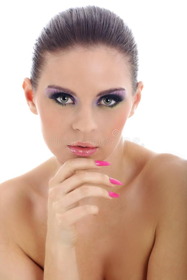 Close-up portrait of beautiful woman with professi stock image