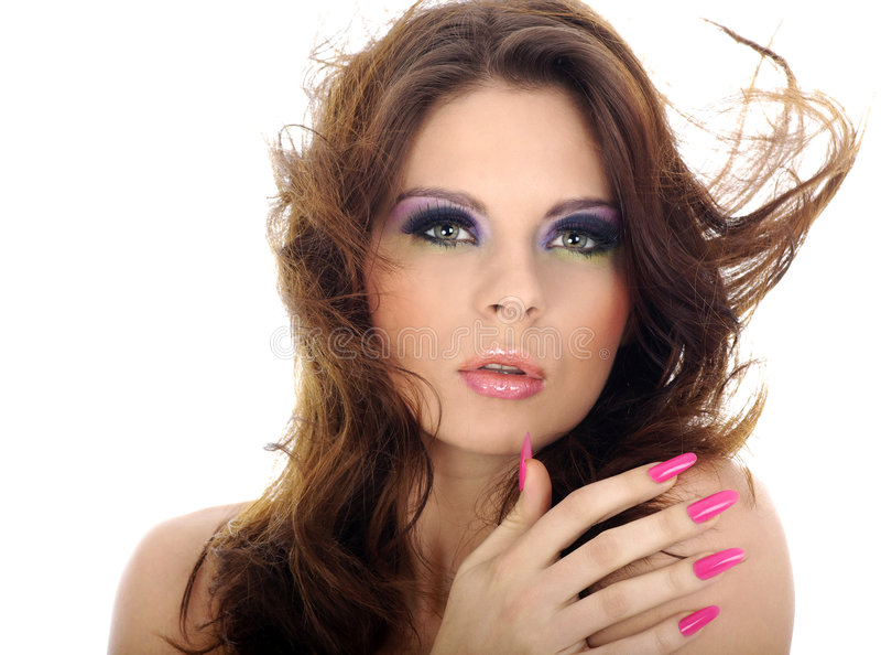 Close-up portrait of beautiful woman with professi. Onal makeup stock image