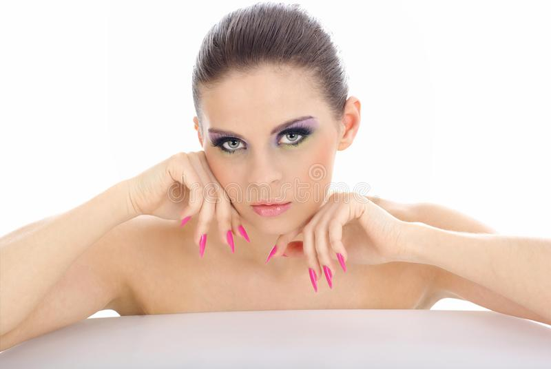 Close-up portrait of beautiful woman with professi stock photography