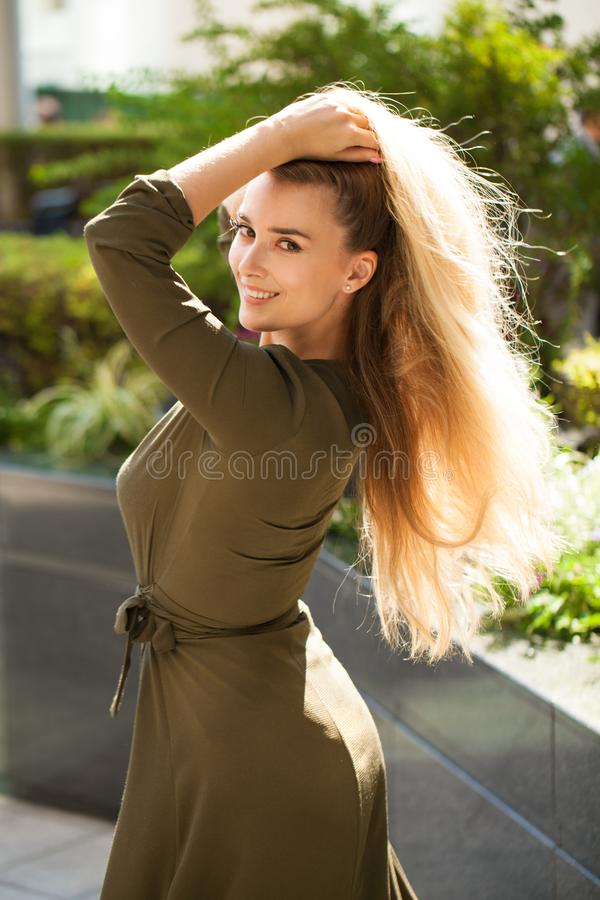 Portrait of beautiful young happy woman stock photos