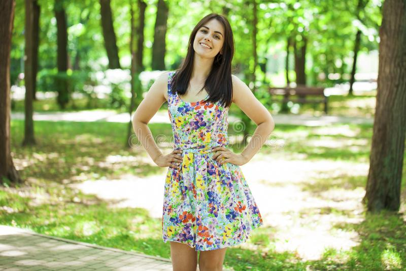 Portrait of beautiful young happy woman stock image