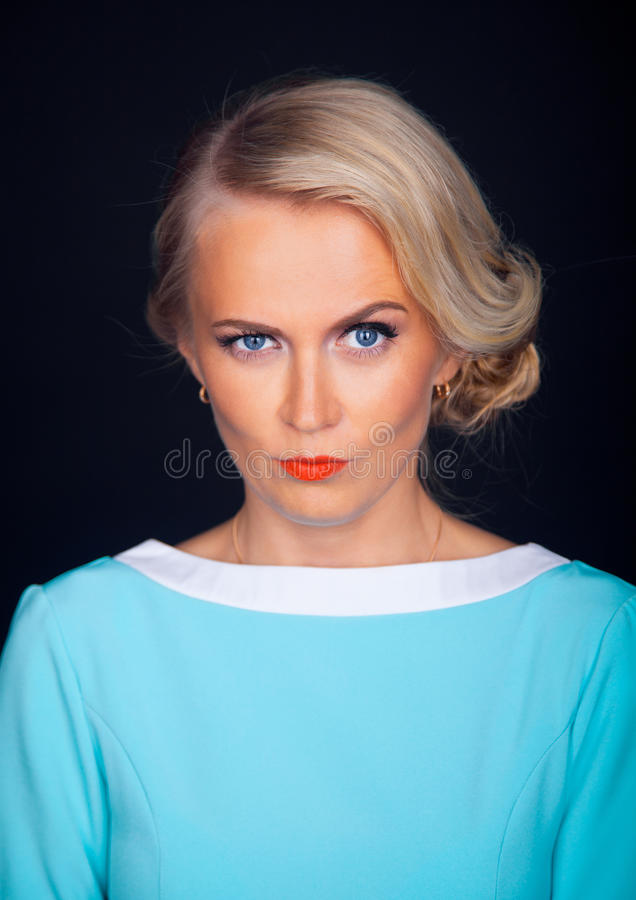 Close up portrait of beautiful young model stock photo