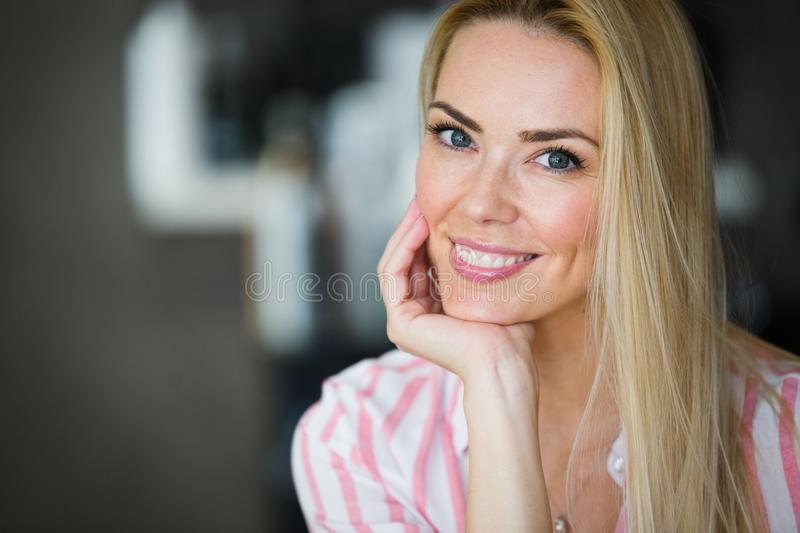 Close up portrait of beautiful young woman stock image