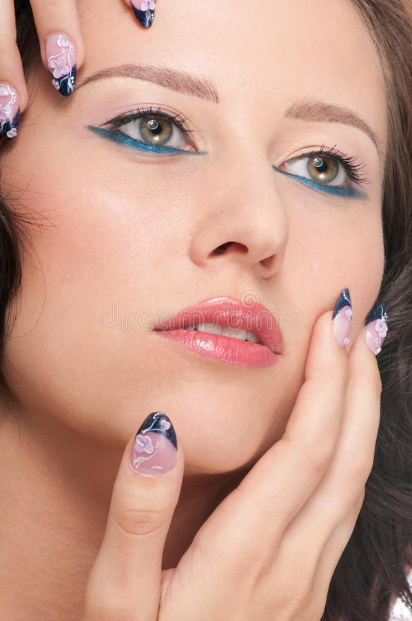 Close-up portrait of beauty girl stock photos
