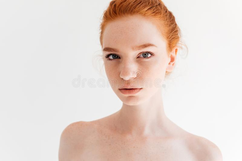 Close up portrait of beauty naked ginger woman royalty free stock image