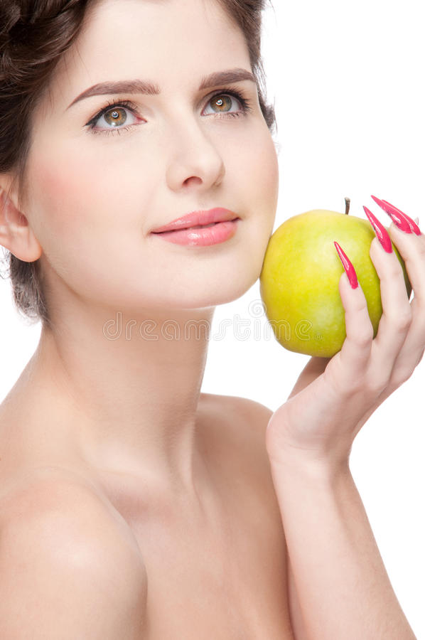 Close up portrait of beauty woman with apple royalty free stock photo