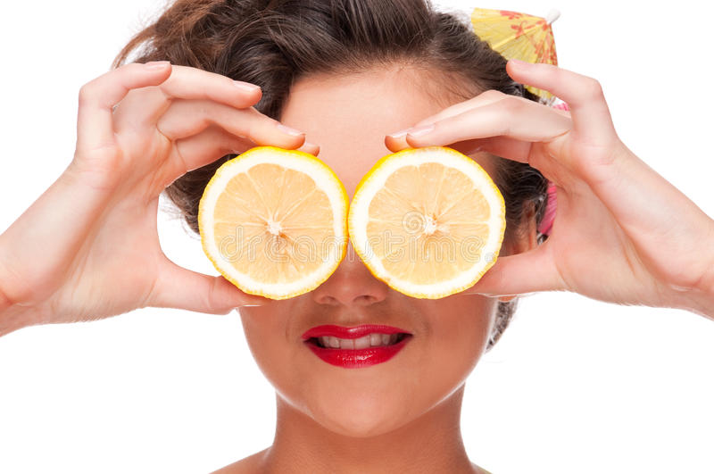 Close up portrait of beauty woman with lemon eyes stock photo