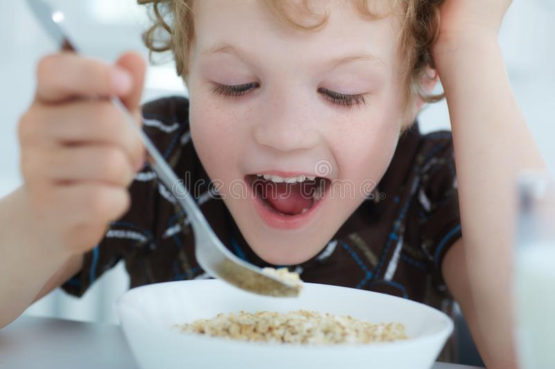 Close up portrait of boy eating cereal while having breakfast in the kitchen. royalty free stock image