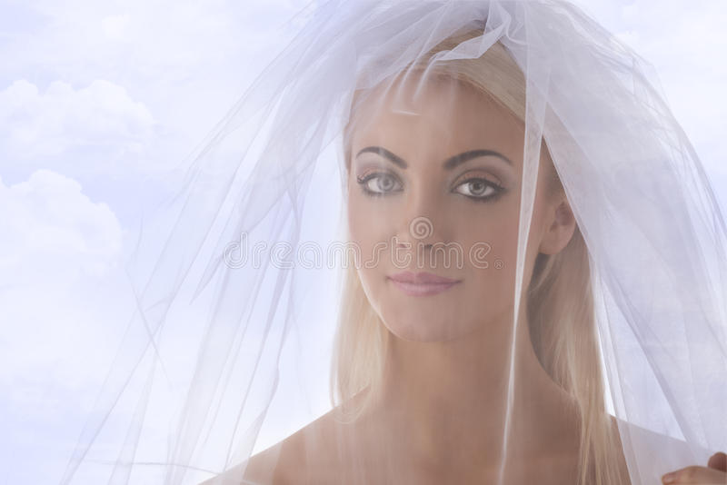 Close-up Portrait Of Bride With Veil On The Face Royalty Free Stock Photo