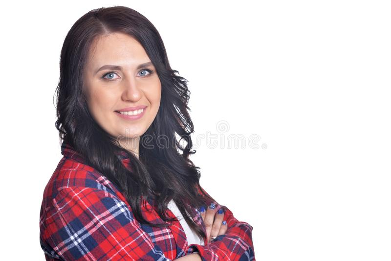 Close up portrait brunette beautiful girl, office worker isolated on white background stock photography