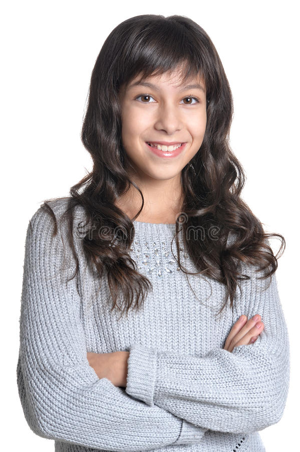 Close up portrait of brunette girl. On white background royalty free stock photo