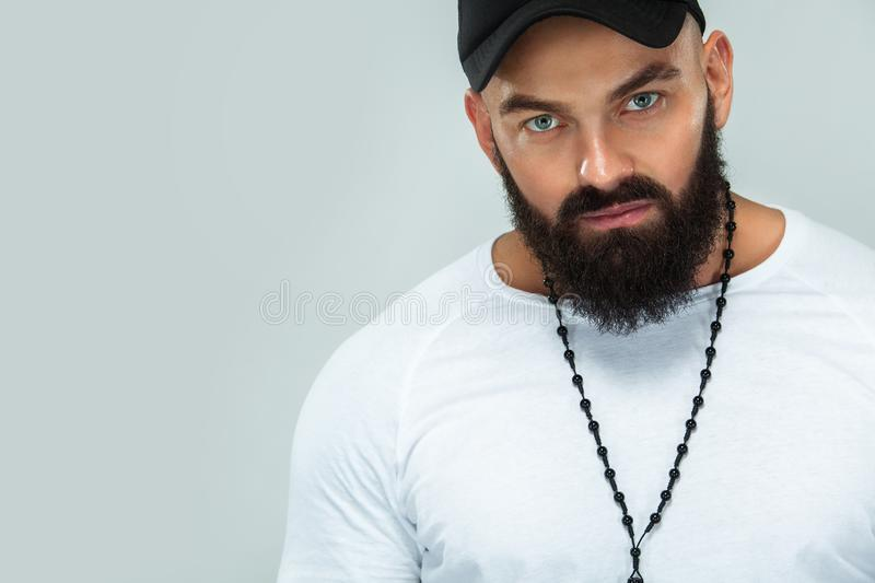 Close-up portrait of a brutal bearded man stock photography