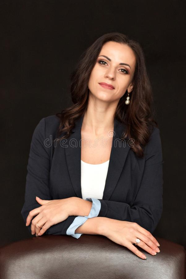 Close up portrait of a business lady in an official jacket stock photos