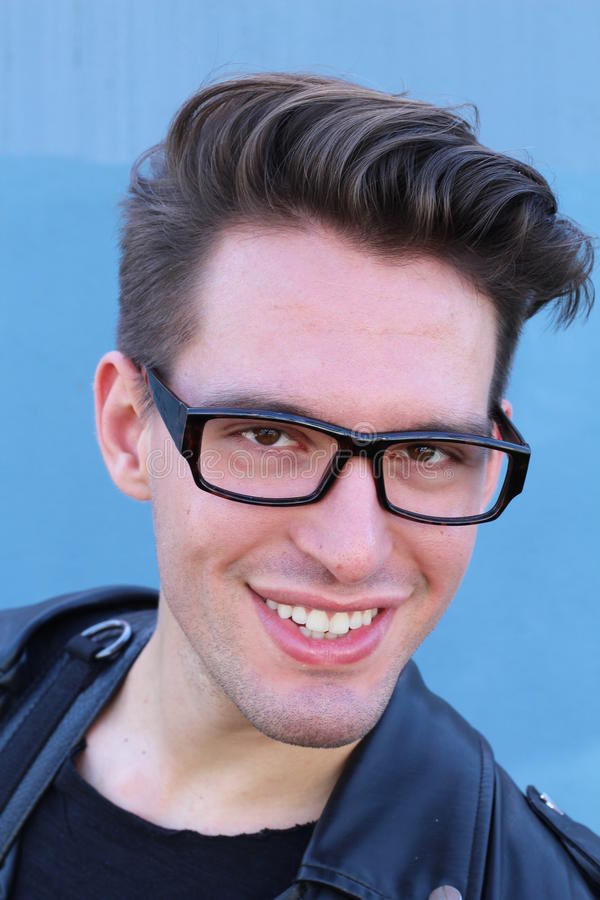 Close-up portrait of business man wearing nerd glasses.  stock image