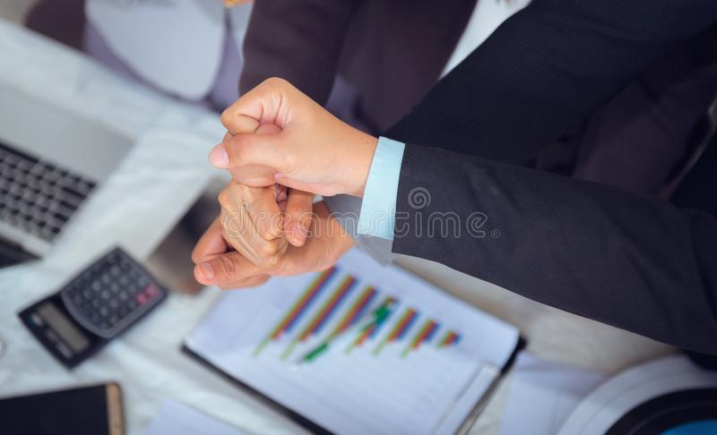 Close up portrait of business people team are showing unity hand stock photo