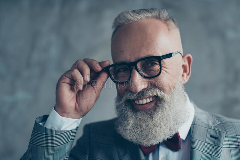 Close up portrait of cheerful affable stylish trendy rich intelligent smart dreamy professional elegant excited elite luxurious o stock images