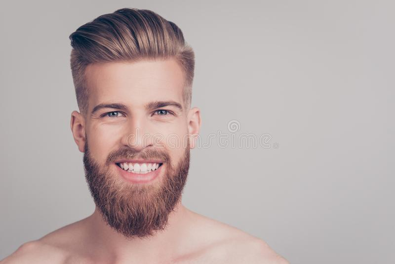 Close up portrait of cheerful handsome attractive excited satisfied emotional brutal kind friendly attractive stunning macho with royalty free stock images