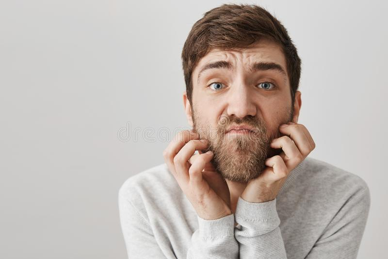 Close-up portrait of clumsy unshaven adult man scratching beard while looking with unsatisfied look at camera as if it stock images