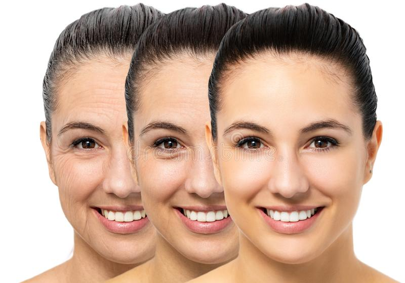 Conceptual skin aging on young woman. stock photos