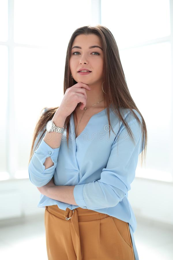Close up. portrait of confident young business woman stock image