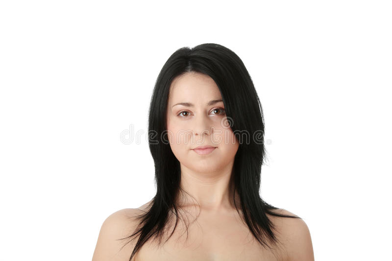 Close-up, portrait of a corpulent woman stock photo