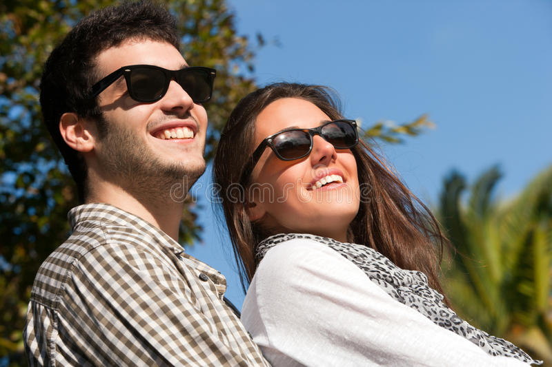 Close Up Portrait Of Couple With Sunglasses Stock Photography