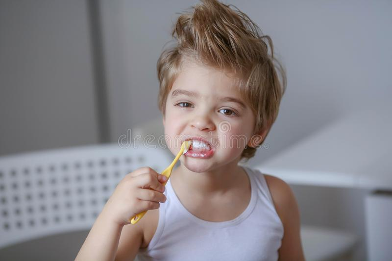 Close up portrait of cute, adorable, toddler boy wearing denim overalls, long T-shirt, sitting on the floor, brushing royalty free stock photo