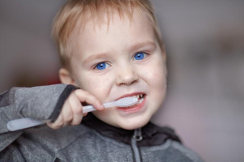 Close up portrait of cute caucasian baby boy with very serious face expression cleaning the teeth with teeth brush, by himself. Br royalty free stock photos
