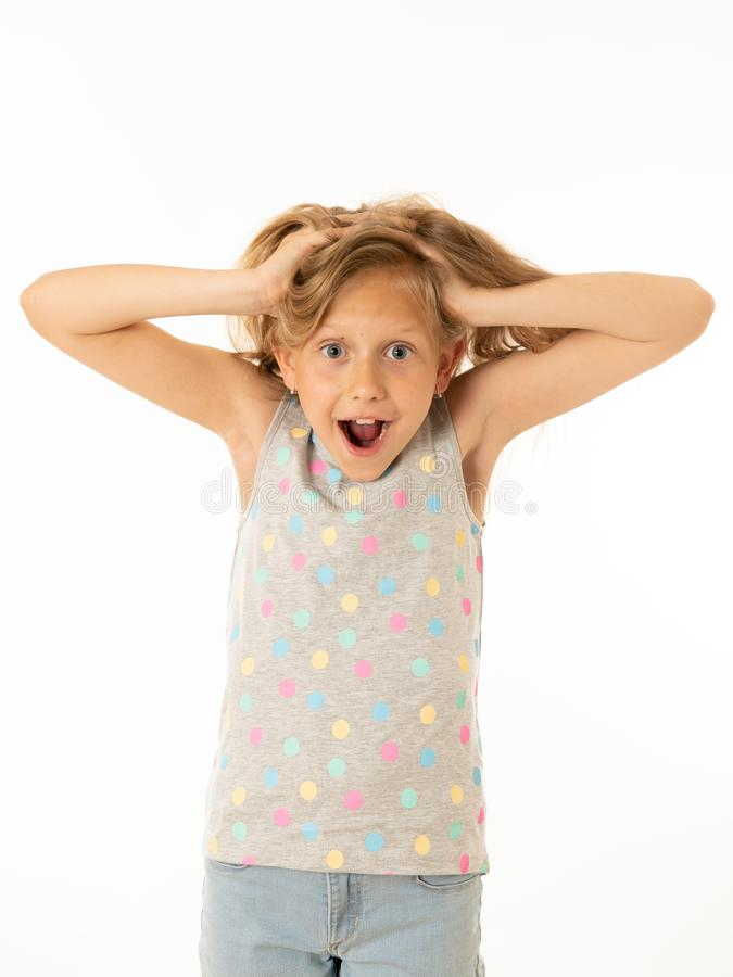 Portrait of young beautiful happy, shocked,surprised girl. Human emotions and facial expression. Close up portrait. Cute charming happy, excited, funny, cheerful stock photo
