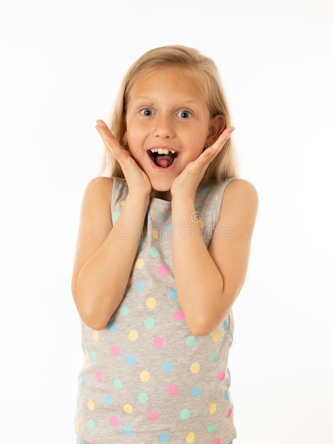 Portrait of young beautiful happy, shocked,surprised girl. Human emotions and facial expression. Close up portrait. Cute charming happy, excited, funny, cheerful stock photography