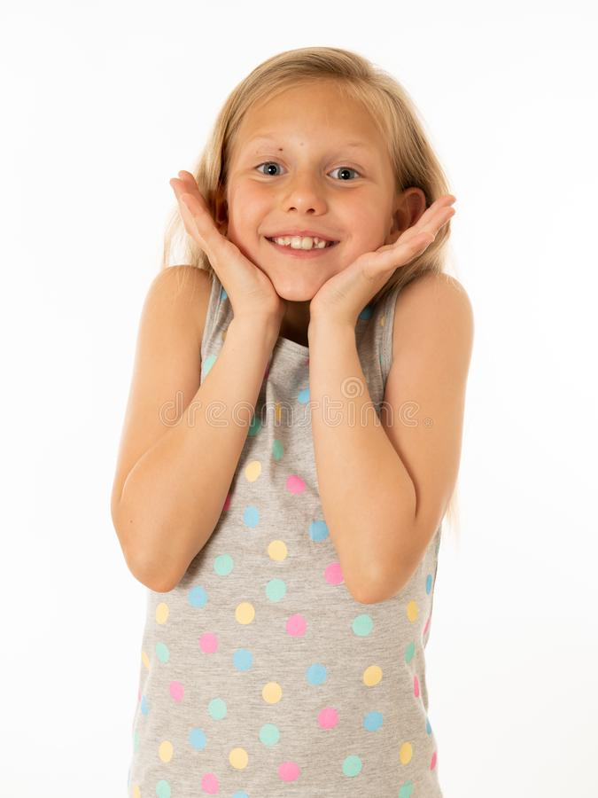 Portrait of young beautiful happy, shocked,surprised girl. Human emotions and facial expression. Close up portrait. Cute charming happy, excited, funny, cheerful royalty free stock photo