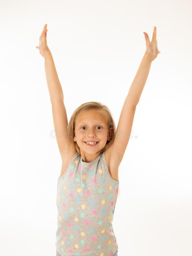 Portrait of a beautiful happy, successful girl celebrating victory. Human emotions facial expression. Close up portrait. Cute charming happy, excited, funny stock images