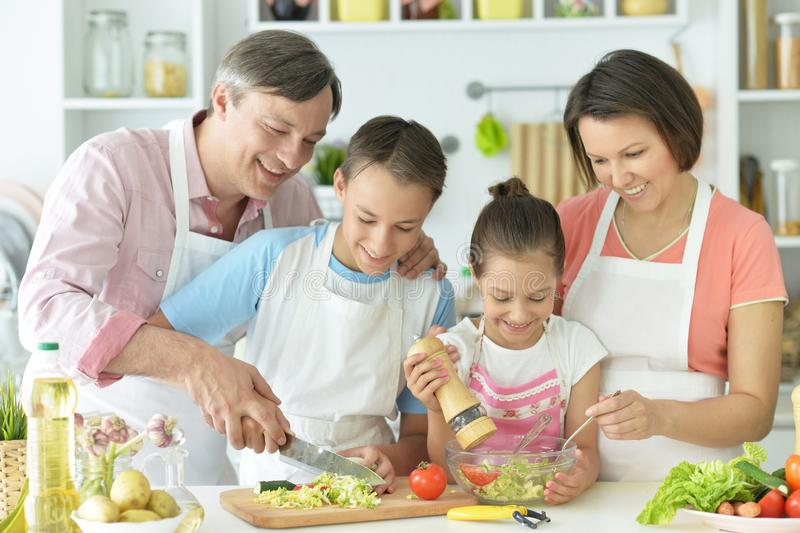 Close up portrait of cute family cooking stock photography