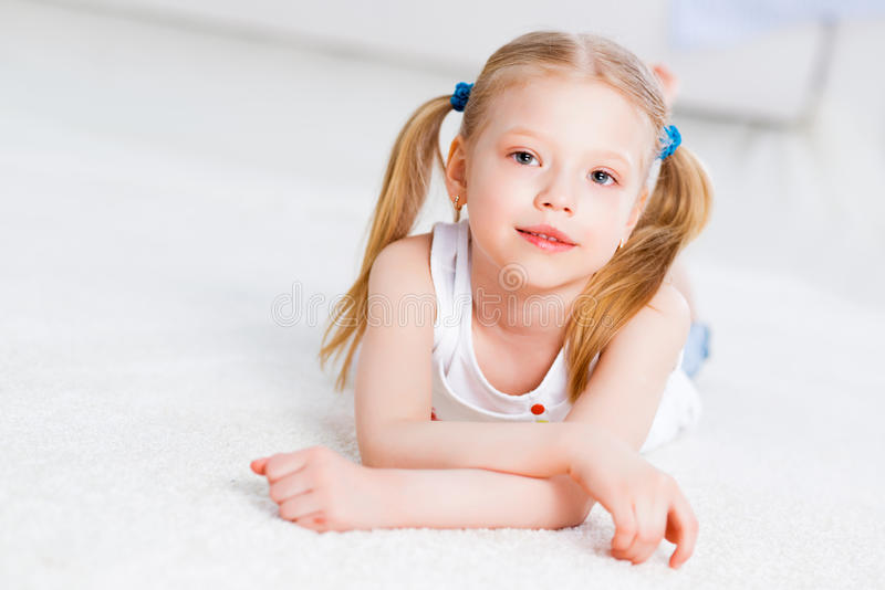 Close-up portrait of a cute girl royalty free stock photos