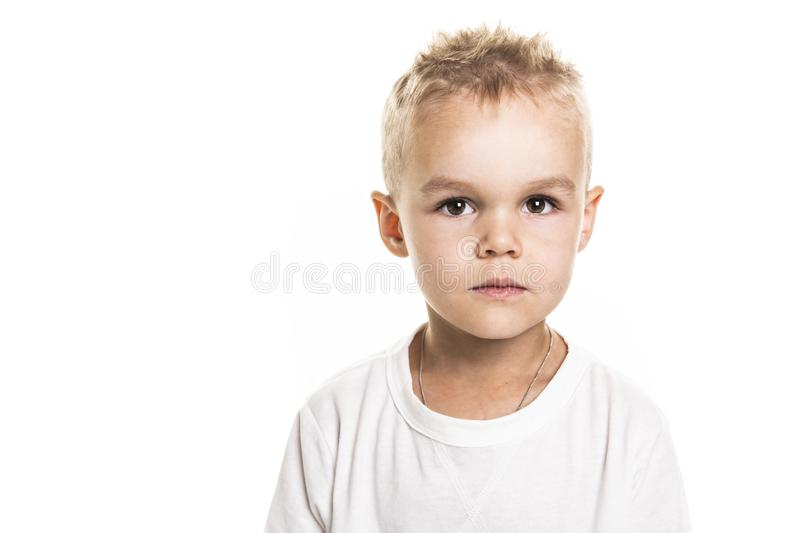 Close up portrait of cute little boy on background stock image