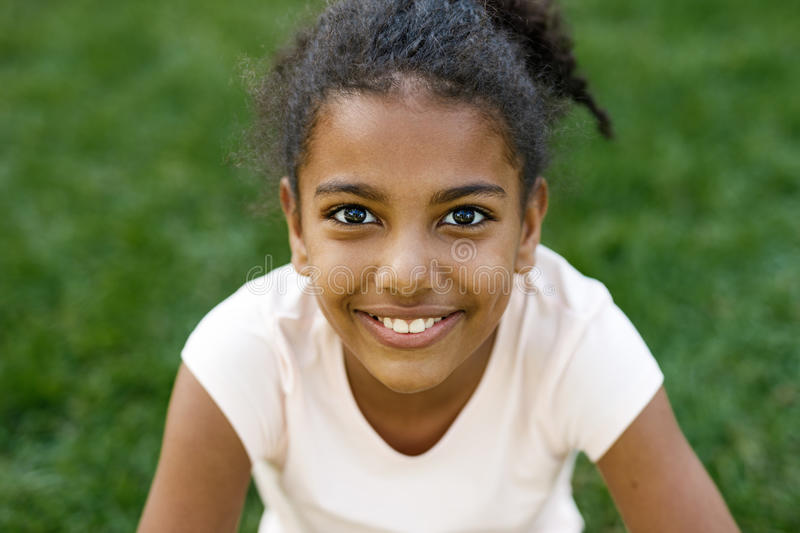Close up portrait of cute smiling girl stock image