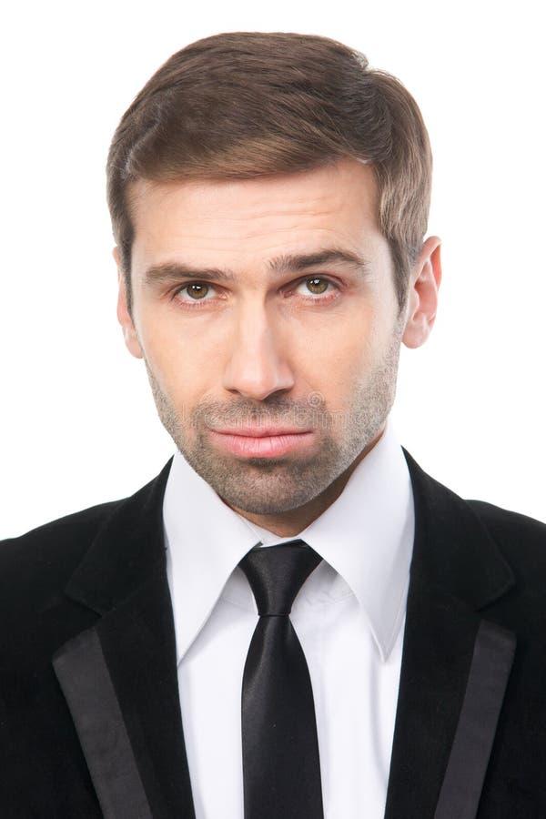Close-up portrait of elegant businessman in black suit. stock images