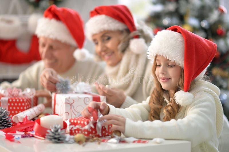 Close up portrait of family celebrating Christmas stock photo