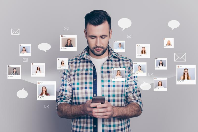 Close up portrait fellow buddy he his him hold look telephone texting sms different ladies pictures illustration global. Search innovation microblogging stock illustration