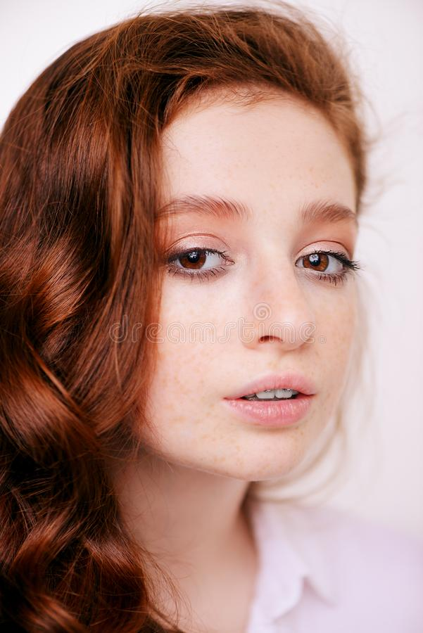 Redhead teenage girl royalty free stock photography