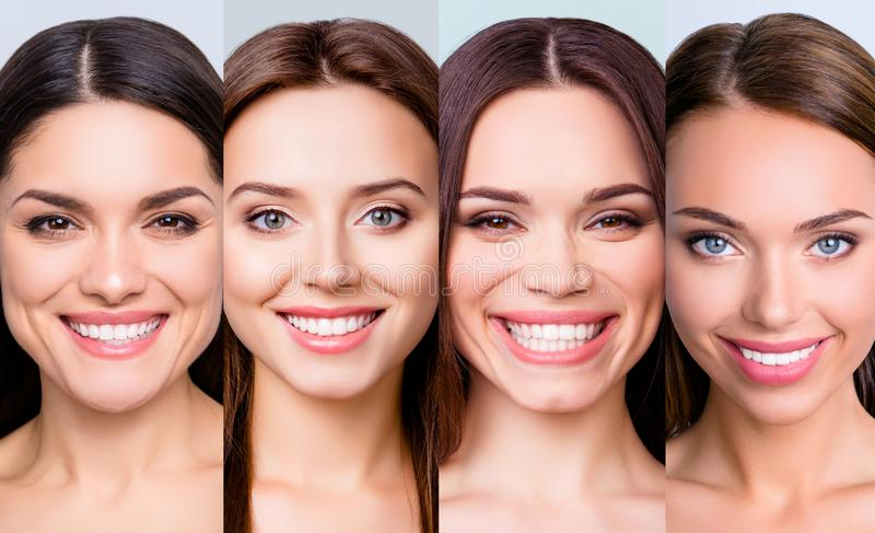 Close-up portrait of four nice attractive cheerful glad positive girls with clean clear smooth soft shine flawless skin royalty free stock photography
